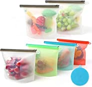 6 Pack Silicone Bags Vertical Storage Bag s Freezing Bags with Cleaning Brush,Reusable,Leak Proof,Environmenta
