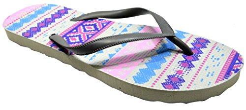 Octave® - Infradito da donna per l'estate e la spiaggia, diversi stili e colori Aztec Design - Grey