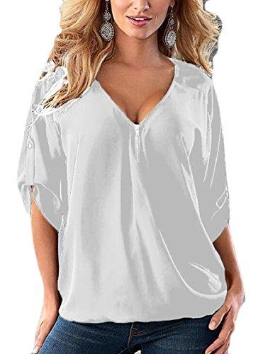 Gocgt Plus Size Blouses,Women's V-Neck Short Sleeve Chiffon Blouse Loose Tshirt Tops Tee