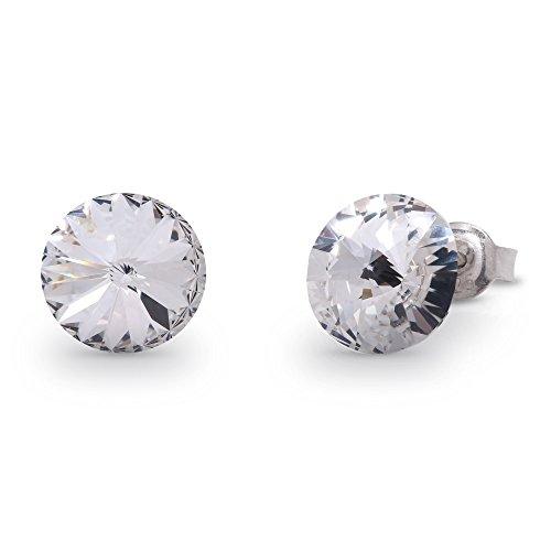 Spark Swarovski Elements Damen Ohrstecker Sterling Silber 925, Swarovski Kristalle rund 8 mm weiß (Swarovski-kristallen Runde)