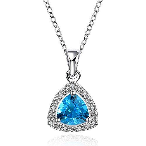 yeahjoy Charm Halo Anhänger Damen Funkelnde Damen Blau Birnenform Österreichischer Kristall Halskette Männer 14k White Gold Halskette