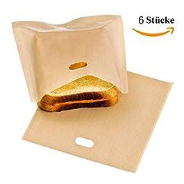 DOCA Tostapane Sacchetti – Confezione da 6 Riutilizzabile Antiaderente Resistente al Calore – Sandwich Pane Pizza Tasche…