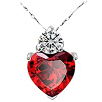 Altsommer Womens 925 Sterling Silver Red Garnet Heart Crystal Pendant Necklace Valentine Gift Red