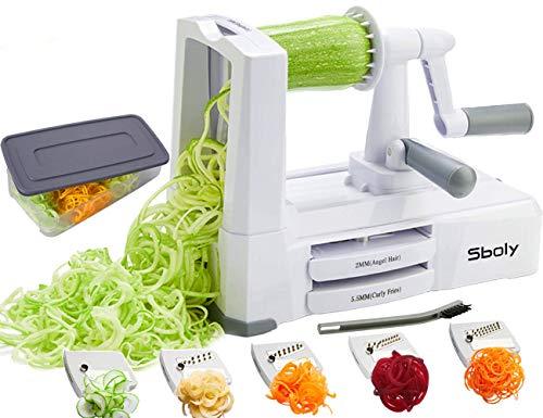 Spiralizer per verdure Affettatrice di verdure con 5 lame, Zucchine Spaghetti Maker Zoodle Maker Creatore di pasta vegetariano, Affettatrice di mandolino più resistente e pesante con contenitore
