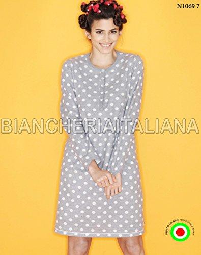 RAGNO Camicia da Notte Donna linea Cuore&Batticuore invernale maniche lunghe ***BRIOSO E GIOVANILE*** GRIGIO MELANGE