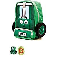 Tractor Ted Dark Green Rucksack/Backpack with Adjustable Shoulder Straps for Kids