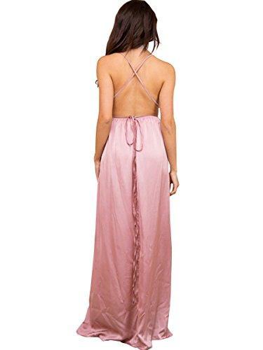 Simplee Apparel Damen Partykleid Elegant V-Ausschnitt Rückenfrei Maxi Lang Satin Träger Kleid Abendkleid Cocktailkleid Rosa