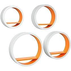 WOLTU RG9231or Lot de 4 Étagère Murale Ovale pour Livres/CD/DVD,rétro étagère en MDF,Blanc Orange