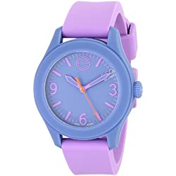 ESQ by Movado Women's 36mm Purple Silicone Band & Case Quartz Blue Dial Analog Watch 07101454