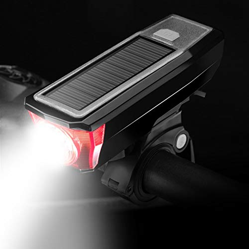 CYSHAKE Front Fahrrad Licht Lampe Solar Lade USB Mobile Power Radfahren Warnleuchte for Mountainbike Compact Cycle Light Taschenlampe Hupe Licht (Color : Red)