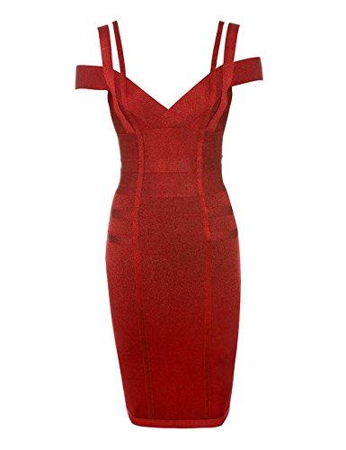 Sexy Designer Kleider (Whoinshop Damen Rayon V-Ausschnitt Festliche Figurbetontes Clubwear Bandage Partykleider Bodycon Kleider (L, karmesinrot))