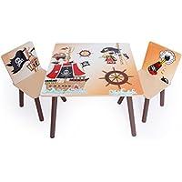 Preisvergleich für Homestyle4u 1117 Kindersitzgruppe Pirat , Kindermöbel Set aus 1 Kindertisch und 2 Stühle , Holz Braun Beige