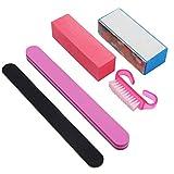HGJFND 5Pcs Kit di Strumenti per Manicure Professionale Lima per Unghie Rettangolare Pennello Accessori per Nail Art Strumenti per Lo Styling