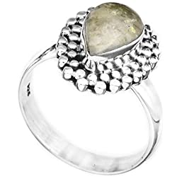 Exotic India Gemstone Drop Ring with Grains - Sterling Silver - Color Rainbow Moonstone Ring Size 7.5