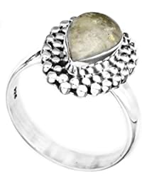 Anillo de la piedra preciosa con granos - plata de ley - Color Moonstone del arco iris 8 tamaño del anillo