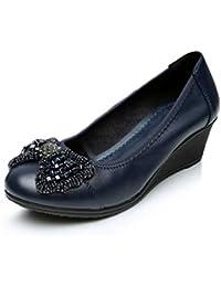 Mujeres Cuñas Mocasines Zapatos Sexy Bowtie Tacones Altos Plataforma Slip-On Piel Vaca Bombas Casual