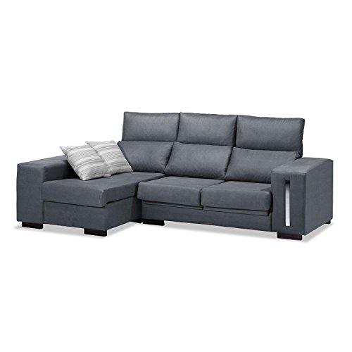 Mueble Sofá con Chaise Longue 3 plazas, Sofa gris marengo cheslong, ref-104...