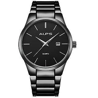 ALPS Herren Luxus Business Style Edelstahl Chronograph Armbanduhr mit Link Armband