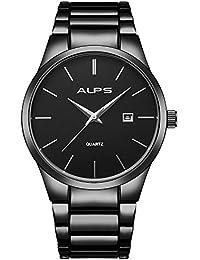 ALPS Montre Homme Simple Quartz Analogique Calendar avec Acier Inoxydable Argent … (All Black)