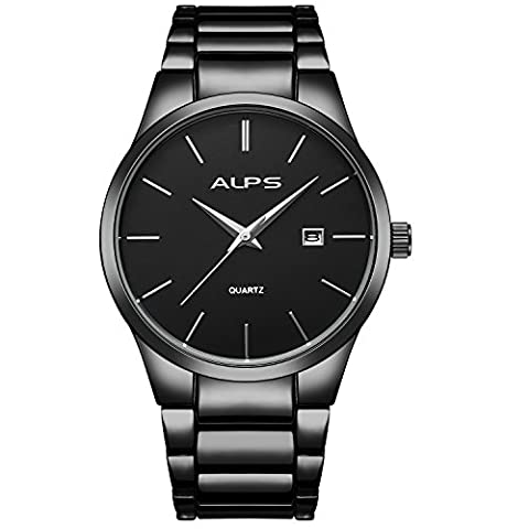 ALPS Mens Luxury Business Style Stainless Steel Chronograph Wristwatch with Link Bracelet (Black)