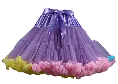 Ballettrock Kinder Mädchen Damen Tutu Rock Schleife Pettiskirt für Show Party Cosplay Violett und Mehrfarbig One Size (Halloween-songs Rock And Roll)