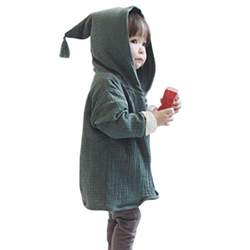 Amuster Amuster Kleinkind Kinder Unisex Baby Junge Mädchen Mantel mit Kapuze Hooded Sweatshirt Strickjacke Pullover Outwear Trenchcoat (100, Grün)