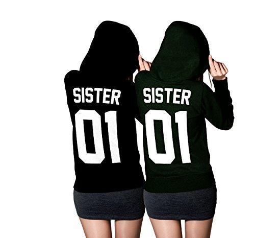 Sister Hoodie Set - Best Friends Freundin Pullover Schwarz (Sister Gr. XL + Sister Gr. XL)