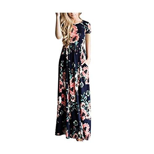 Damen Kleider Maxikleid Lang Boho Langarm Blumen Streifen High Waist Maxi