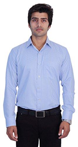 25th R Checks white-Blue Cotton Blend Slim Fit Formal Shirts For Men (White