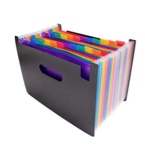 StyleZ 24 Fächer, Regenbogenfarben, mehrfarbig, Fächer, A4, Papierkraft, Brief, Steuerrechnung, Quittung, erweiterbare Akkordeon-Ordner, Aktenbox für Studium, Büro, Geschäft (Akkordeon Ordner, Brief)