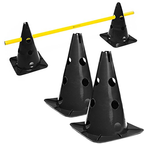 #DoYourFitness® Pylonen-Set/Trainingshürden (Lieferumfang : 3X Stangen (1,5m) & 2X Steckhütchen) - Koordinationshürde für Agility Training/Hürdenlauf rot/gelb schwarz/grün Auriol