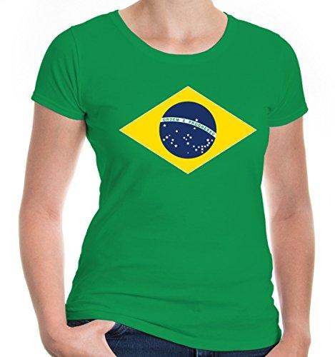 e T-Shirt Brasilien Flag Full Size | Brasil Brazil Amerika Ländershirt Trikot Reise | M, Grün (Cop Outfit Zu Halloween)