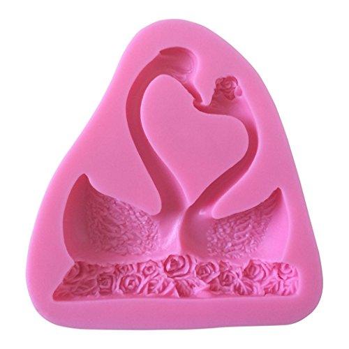 Karen Baking Schwan Geformt 3D Silikon-verzierender Schokoladen-Kuchen-Form-Fondant-backendes Werkzeug-Rosa