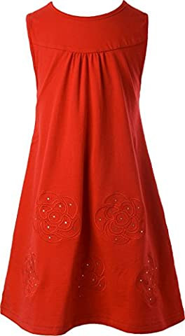 Ipuang Little Girls' Flower Dress Casual Embroidered Red 6