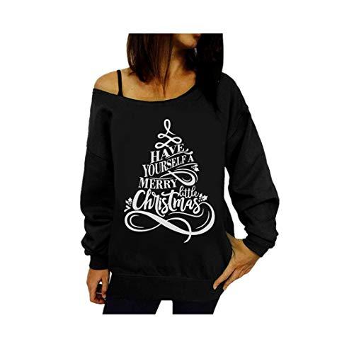 Frauen Weihnachtsdruck Sweatshirt Pullover Tops Blusen-Shirt Weihnachten Off Shoulder Oberteile Mit SchnüRung Tunika Outwear Frauen Schulter Coat Jacket Casual Pulli Sweater(Schwarz,S)