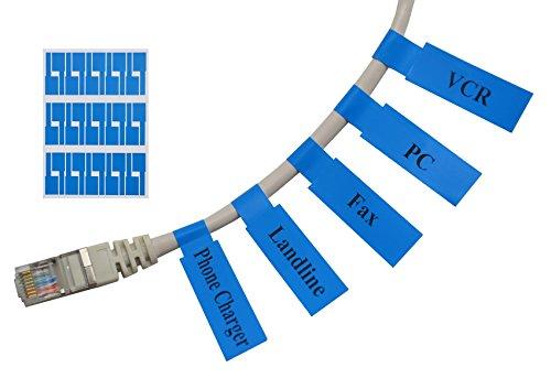 Mr-Label (20 hojas, 600 etiquetas) Autoadhesivo Etiqueta del cable - a prueba de agua | Resistente a la rotura | Durable - con la Herramienta de impresión en línea gratuito (Azul)