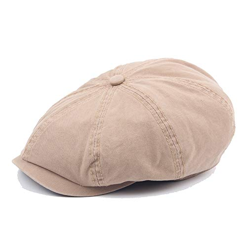 S.Y.MMSY Frauen Hut Retro Baskenmütze Mütze Herbst Winter Wolle Ladies Washed Cotton Octagonal Hut Herren Outdoor Visor Solid (Farbe : Light Khaki, Größe : 56-58CM) -