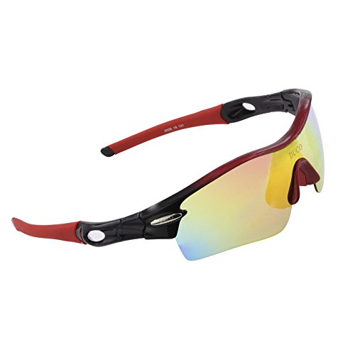 Duco Polarized Sports Sunglasses with 5 Interchangeable Lenses UV400 Protection Sports Sunglasses for Cycling Running Glasses 0026(Black Red)
