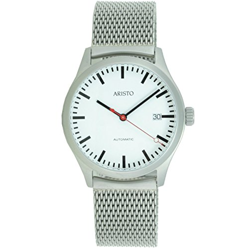 Aristo Reloj de hombre Automatic Acero Inoxidable estación de ferrocarril 3h191m Milanaise banda