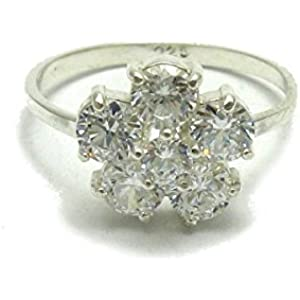 Sterling silber ring blume mit kubisches Zirkonoxid 925 Empress Größe 46 - 69