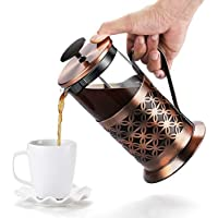 Rackaphile - Cafeteras de émbolo, Prensa Francesa con Acero Inoxidable 304 (Capacidad: 1000 ml/34 FL oz/8 Tazas) Fda LFGB BPA Resistente al Calor, para Café, Té, Espresso (Color: Cobre Retro)