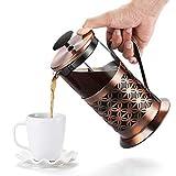 Rackaphile Kaffeebereiter mit Edelstahlfilter, French Press Kaffeekanne aus Glas mit Edelstahl-Rahmen, Fda LFGB Genehmigt hitzebeständig für Kaffee Tee Espresso, 1000 ml/34 FL oz/8 Tasse Kapazität
