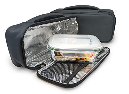 NERTHUS Lunch Bag Rectangular + Tuppers Fiambrera Bolsa termica Porta Alimentos individual Gris + 1 Tupper Hermético Cristal, Única