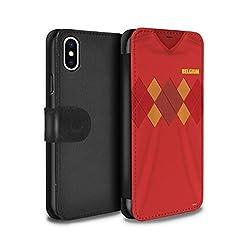 Stuff4 PU-Leder Hülle/Case/Tasche/Cover für Apple iPhone XS/Belgien/Belgisch Muster/Weltmeisterschaft 2018 Fußball Trikot Kollektion