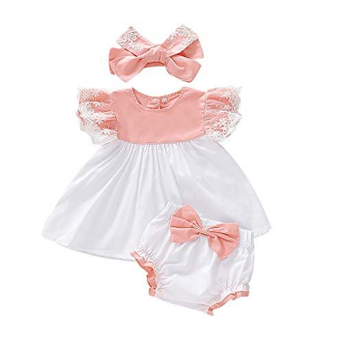 MCYs Baby Neugeborenes Mädchen Kinder Spitzenkleid Tops + Bogen PP Shorts + Stirnband Outfits Set (Einhorn Prinzessin Kostüm Hunde)