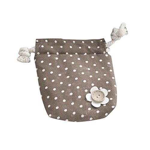 Lorsoul Leinen Kordelzug Taschen-Speicher-Beutel-Kind-Mädchen-Geldbörse Nette Punkte Blumen Wallets Seiltaschen