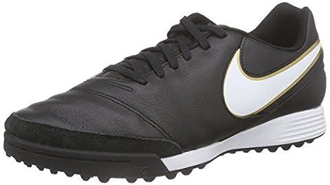 Nike Tiempo Genio II Leather TF, Herren Fußballschuhe, Schwarz (Black/White-Metallic Gold), 46 EU (11 Herren UK)