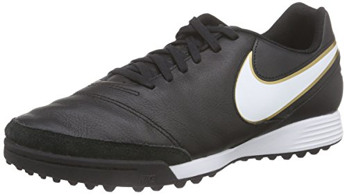 Nike Tiempo Genio II Leather TF, Chaussures de Football Homme, Mehrfarbig Noir (Black/White/Metallic Gold)