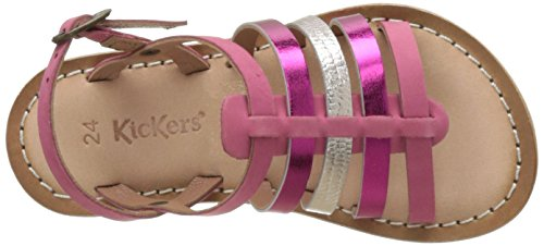 Kickers Dixmillion, Sandales Bout Ouvert Fille Rose (Rose Metal Fuschia)