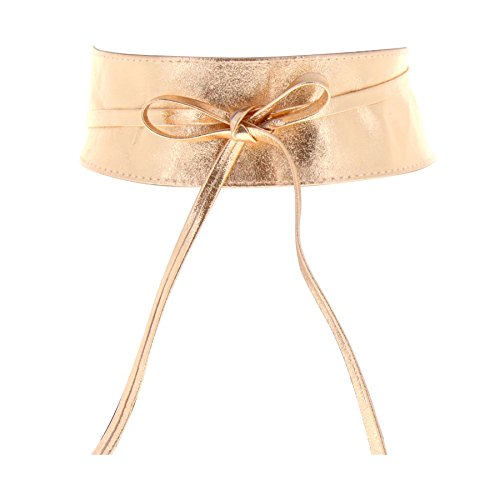Fashiongen Obi Gürtel aus echtem Leder Cassiane - Golden Rosa gold, L-XL